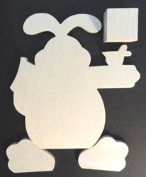 #613  Hello Spring (WOOD cut-out Bunny)