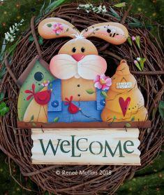 #728 Spring Time Bunny Welcome Topper  (PATTERN)