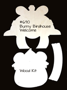 #690 Bunny Birdhouse Welcome (WOOD KIT)