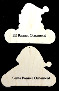 Santa & Elf Banner Oranments (WOOD)
