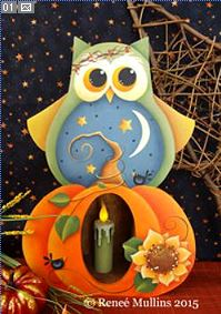 #684 Autumn Owl Candle Box (PATTERN)