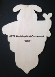 #678 Holiday Hat Ornaments (DOG - WOOD)